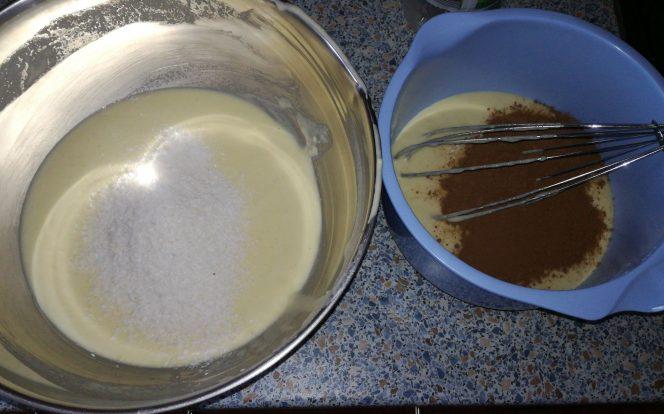 Přidání kokosu a kakaa